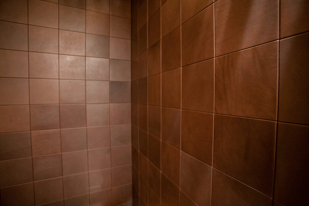 Leather Tile Powder Room